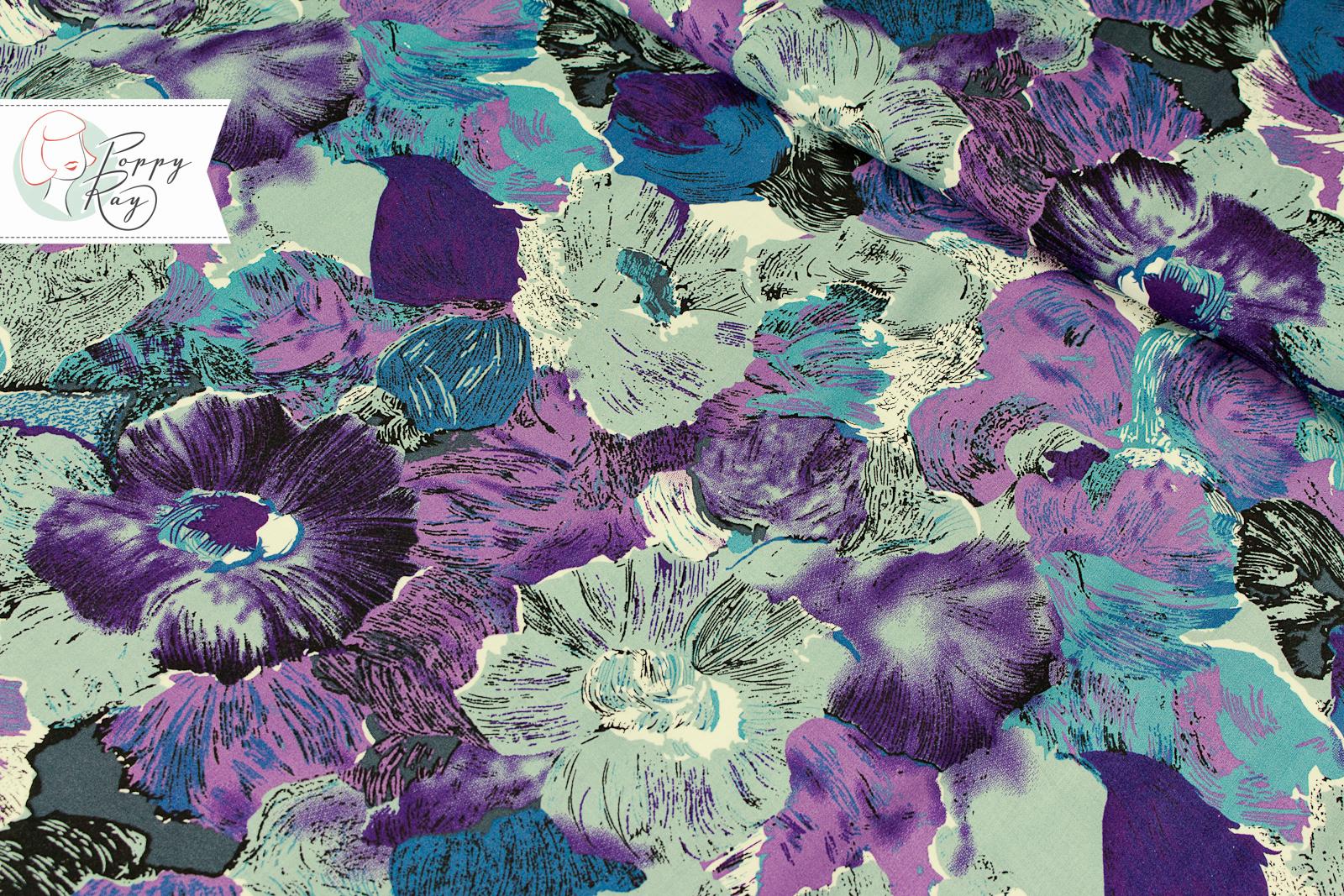 Viskose 50er Vintage Blumen