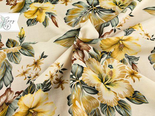 Viskose Hawaii Blumen gelb
