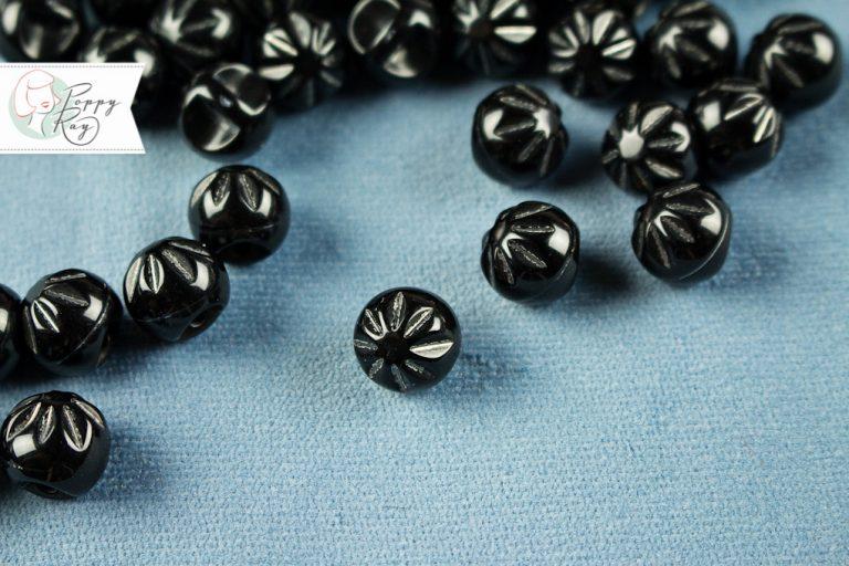 Perlenknopf schwarz