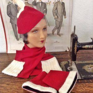Wearing History 1933 hat scarf gauntlet
