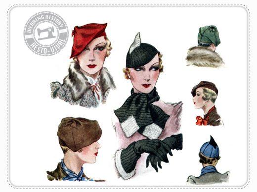 1933 hat scarf Wearing History Vintage Pattern