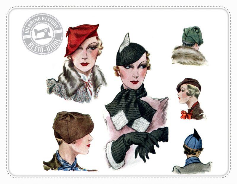 1933 hat scarf Wearing History Vintage Pattern