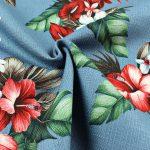 Barkcloth Hawaii Blumen blau Stoff Baumwolle Flax