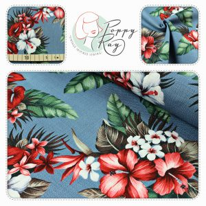 Barkcloth Hawaii flowers