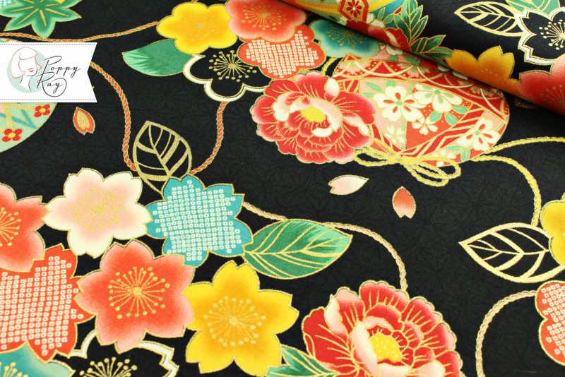 Baumwolle japanische Blumen