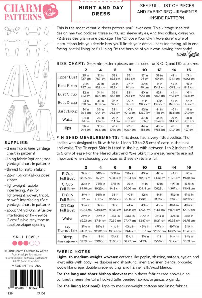 Night and Day Dress Charm Patterns by Gertie