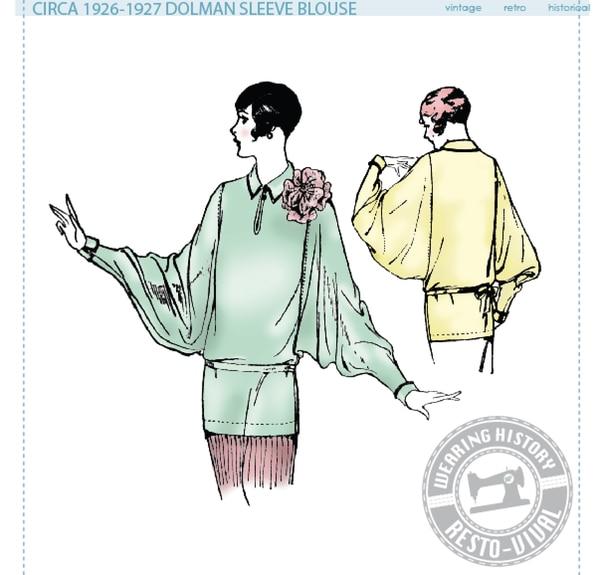 1920er Bluse mit Dolmanärmeln