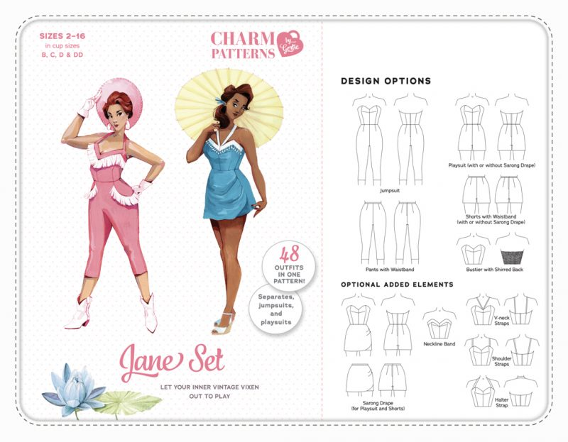 Charm Patterns by Gertie Jane Set Jumpsuit Schnittmuster Vintage Retro