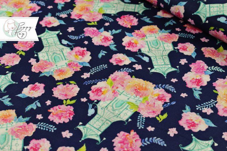 Free Spirit Baumwolle Asien Pagode Blumen