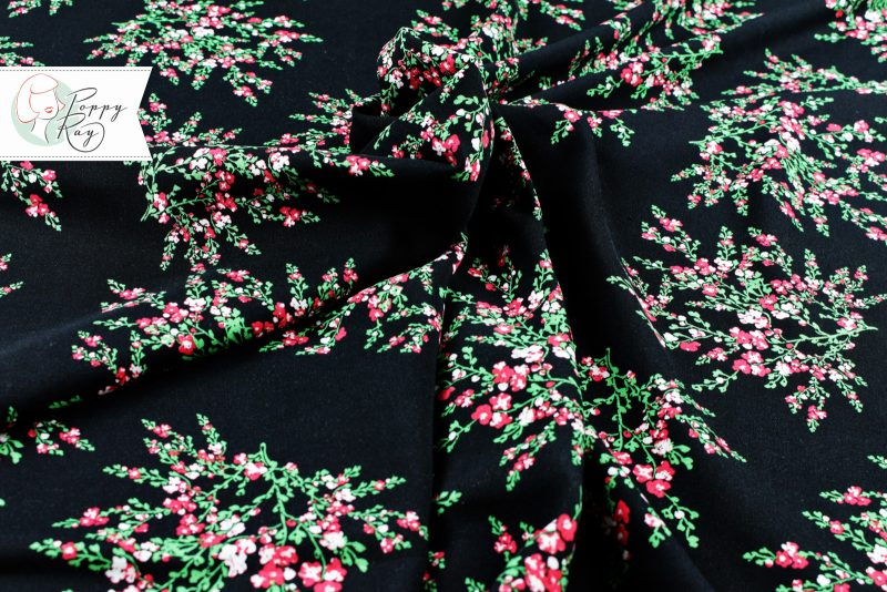 Viskose Rayon Vintage schwarz