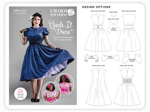 Cinch It Dress Charm Patterns by Gertie Hirsch