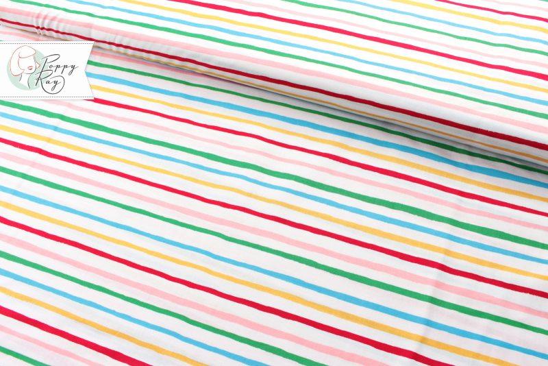 Retro Baumwollstoff mit bunten Streifen von Michael Miller