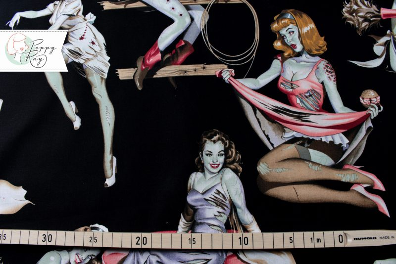 Alexander Henry Stoff Zombie Pin Up Beauty and Brains