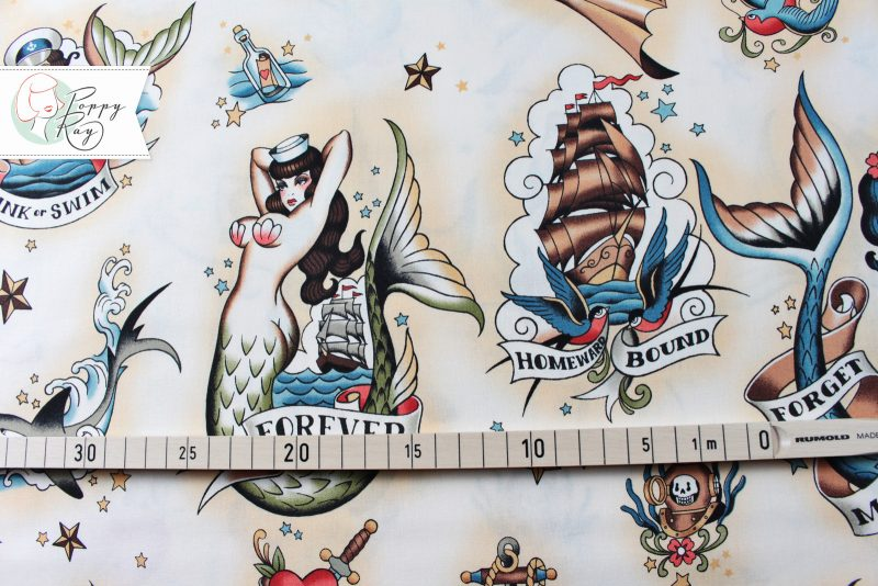 Alexander Henry Stoff Pin Up Meerjungfrau Tattoo Sailor Oldschool