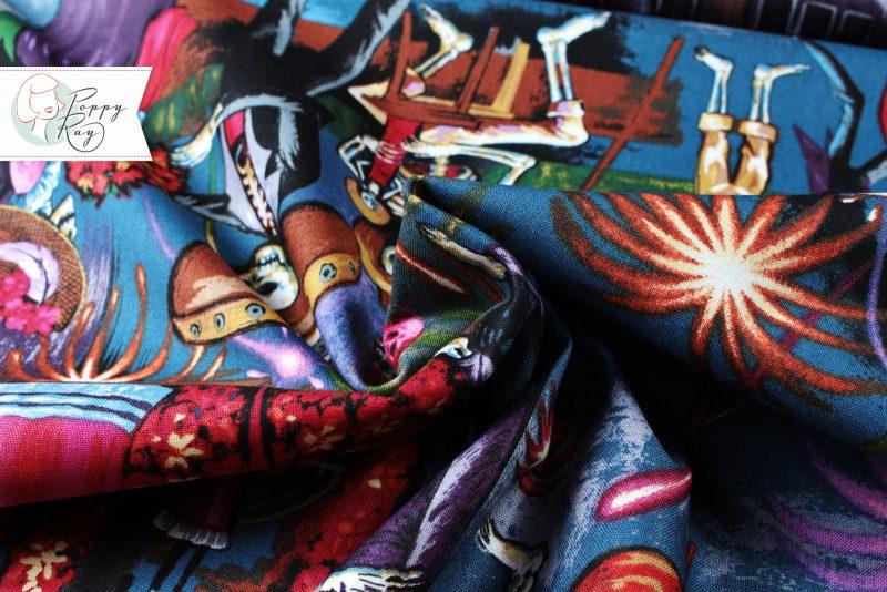 Alexander Henry La Parranda Baumwolle Stoff Mexiko Dia de los Muertos Calavera Skull Totenkopf