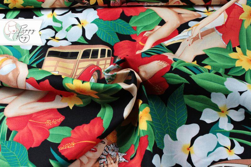 Alexander Henry Strand Pin Ups Stoff Baumwolle Vintage