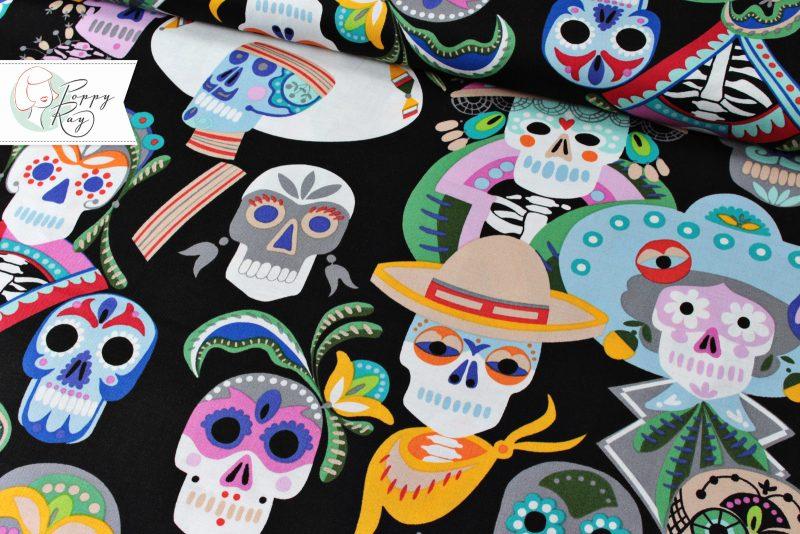 Alexander Henry Stoff Carita Calaveras Mexiko Totenkopf Skull